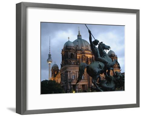 A Twilight View of the Berlin Cathedral, Berlin Landmarks at Night-Jim Webb-Framed Art Print