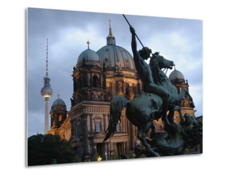 A Twilight View of the Berlin Cathedral, Berlin Landmarks at Night-Jim Webb-Metal Print