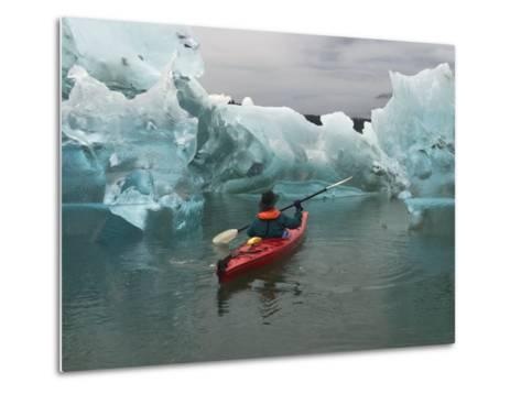 A Kayak Paddler Passes Sculpted Icebergs in Tracy Arm Fjord-Ralph Lee Hopkins-Metal Print