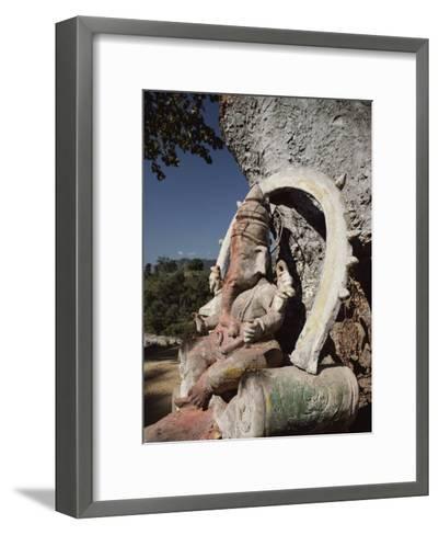 Stone Sculpture Shrine to the Hindu Deity Ganesh-Gordon Wiltsie-Framed Art Print