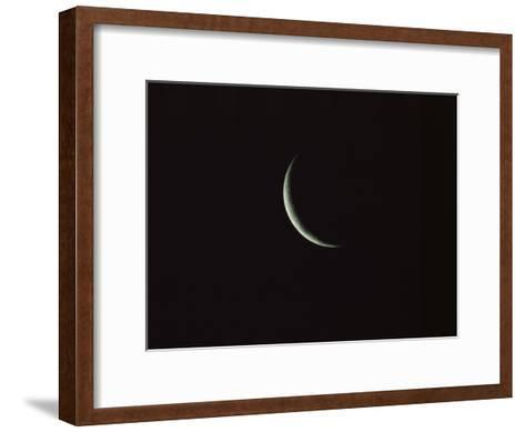 Sliver of the Moon during the New Moon Phase in Dark Black Sky-Tim Laman-Framed Art Print