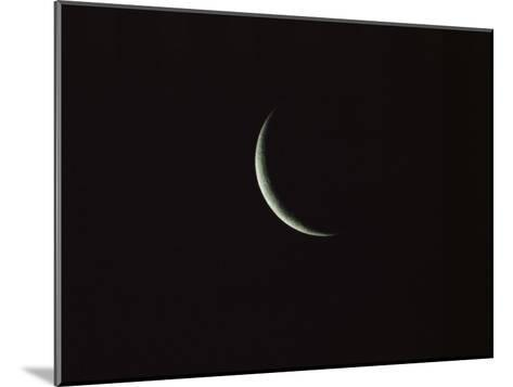 Sliver of the Moon during the New Moon Phase in Dark Black Sky-Tim Laman-Mounted Photographic Print