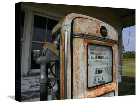 Vintage Gas Pump Recalls the Open American Road and Cheaper Prices-Stephen St^ John-Stretched Canvas Print