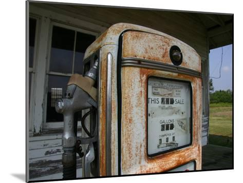Vintage Gas Pump Recalls the Open American Road and Cheaper Prices-Stephen St^ John-Mounted Photographic Print