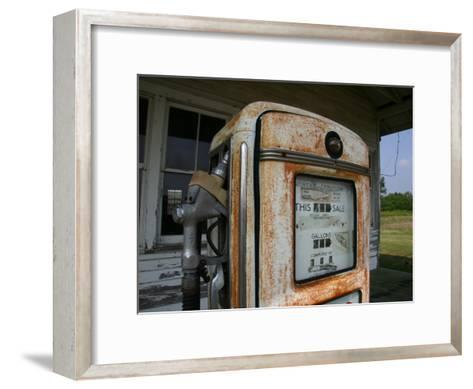 Vintage Gas Pump Recalls the Open American Road and Cheaper Prices-Stephen St^ John-Framed Art Print