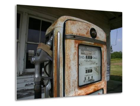 Vintage Gas Pump Recalls the Open American Road and Cheaper Prices-Stephen St^ John-Metal Print