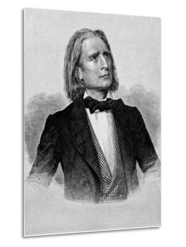 Illustration of Franz Liszt, Hungarian Composer and Pianist--Metal Print