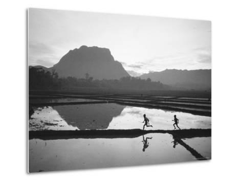 Boys Running Through Flooded Rice Paddy-John Dominis-Metal Print