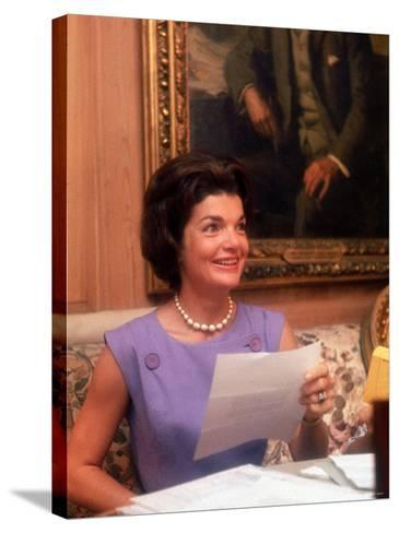 First Lady Jacqueline Kennedy Looking over Some Papers at the White House-Ed Clark-Stretched Canvas Print
