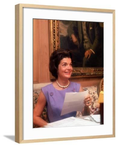 First Lady Jacqueline Kennedy Looking over Some Papers at the White House-Ed Clark-Framed Art Print