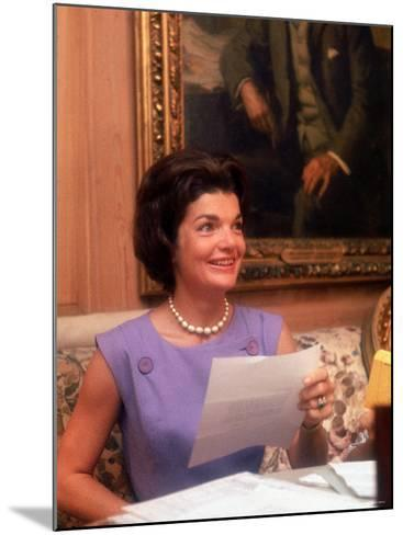 First Lady Jacqueline Kennedy Looking over Some Papers at the White House-Ed Clark-Mounted Photographic Print