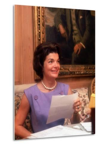 First Lady Jacqueline Kennedy Looking over Some Papers at the White House-Ed Clark-Metal Print