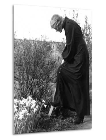 Madame Maud Gonne MacBride Working in Her Garden-John Phillips-Metal Print