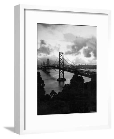 Atmospheric View of the San Francisco Oakland Bay Bridge Viewed from the Oakland Side at Dusk--Framed Art Print