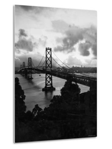 Atmospheric View of the San Francisco Oakland Bay Bridge Viewed from the Oakland Side at Dusk--Metal Print