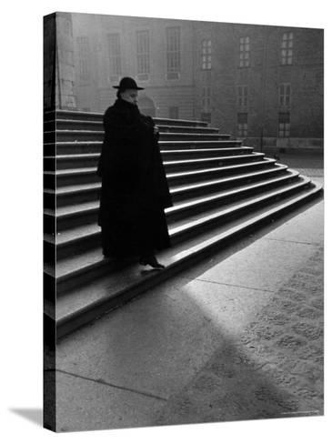 Italian Catholic Priest Majestically Descending Stairs-Alfred Eisenstaedt-Stretched Canvas Print