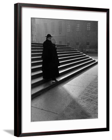 Italian Catholic Priest Majestically Descending Stairs-Alfred Eisenstaedt-Framed Art Print