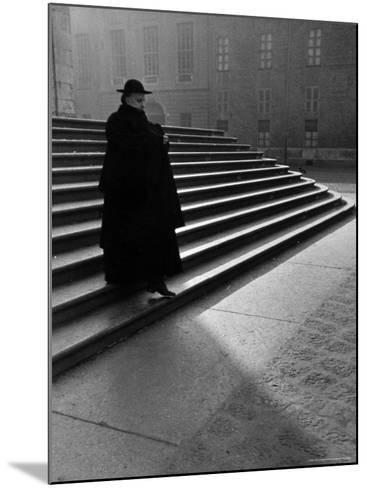 Italian Catholic Priest Majestically Descending Stairs-Alfred Eisenstaedt-Mounted Photographic Print