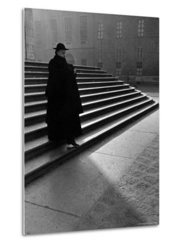 Italian Catholic Priest Majestically Descending Stairs-Alfred Eisenstaedt-Metal Print