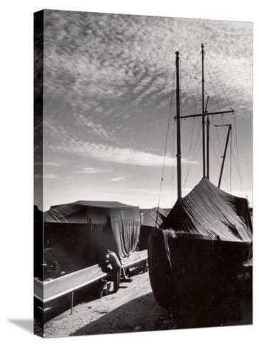 Boatyard on Martha's Vineyard in Winter-Alfred Eisenstaedt-Stretched Canvas Print