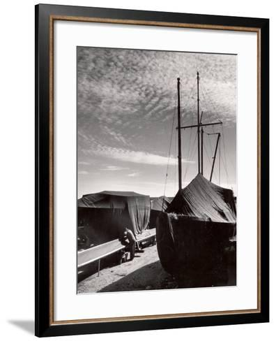 Boatyard on Martha's Vineyard in Winter-Alfred Eisenstaedt-Framed Art Print