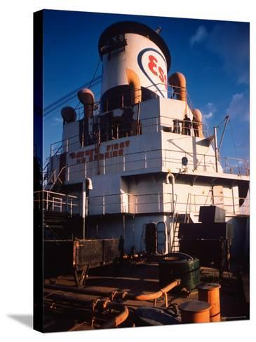 Deck of Esso Oil Tanker Little Rock, Docked at Sun Shipbuilding and Dry Dock Co. Shipyards-Dmitri Kessel-Stretched Canvas Print