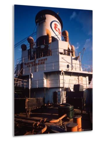 Deck of Esso Oil Tanker Little Rock, Docked at Sun Shipbuilding and Dry Dock Co. Shipyards-Dmitri Kessel-Metal Print
