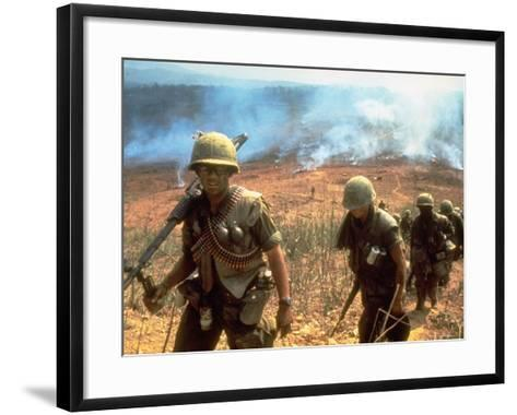 Line of Soldiers Marching Up Hill with Smoky Fires in Background, During Route 9 Offensive-Larry Burrows-Framed Art Print