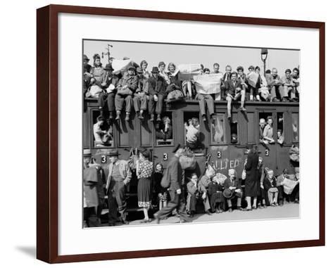Civilians Packing Onto Overcrowded Train Leaving Postwar Berlin-Margaret Bourke-White-Framed Art Print