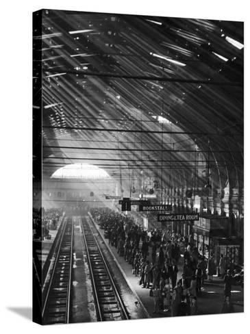 Interior of a London Railroad Station--Stretched Canvas Print
