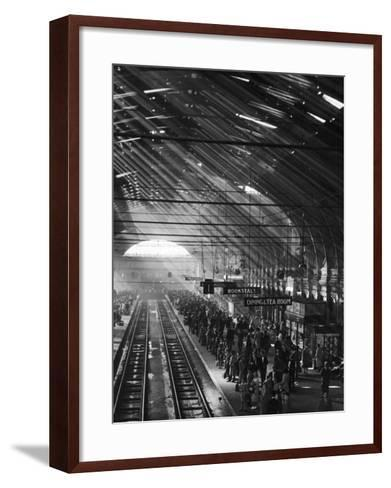 Interior of a London Railroad Station--Framed Art Print