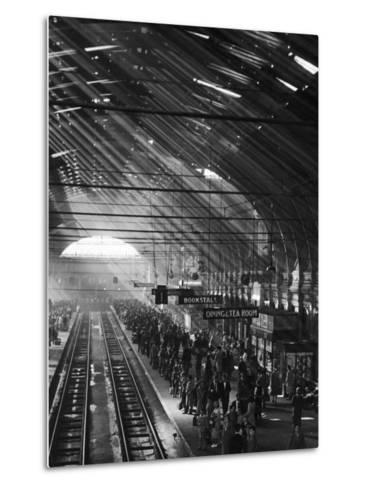 Interior of a London Railroad Station--Metal Print