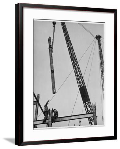 Construction Workers on a Gridiron in Red Lion Square, London, England, Early 20th Century--Framed Art Print