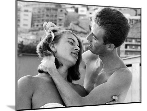 Italian Man Combing His Girlfriend's Hair-Paul Schutzer-Mounted Photographic Print