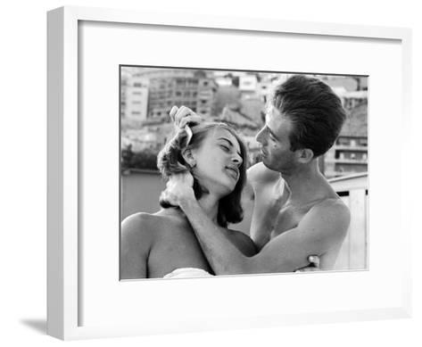 Italian Man Combing His Girlfriend's Hair-Paul Schutzer-Framed Art Print