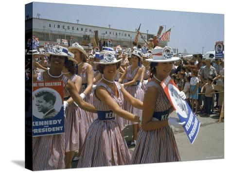 "Female Supporters of Democratic Presidential Candidate John F. Kennedy, Called ""Kennedy Cuties""-Hank Walker-Stretched Canvas Print"