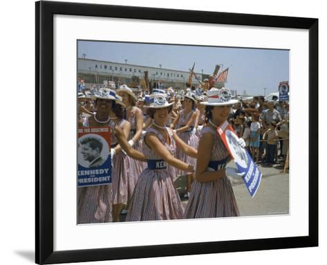 "Female Supporters of Democratic Presidential Candidate John F. Kennedy, Called ""Kennedy Cuties""-Hank Walker-Framed Art Print"