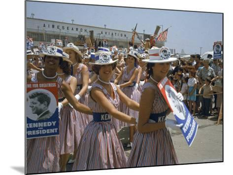 "Female Supporters of Democratic Presidential Candidate John F. Kennedy, Called ""Kennedy Cuties""-Hank Walker-Mounted Photographic Print"