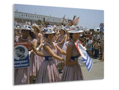 "Female Supporters of Democratic Presidential Candidate John F. Kennedy, Called ""Kennedy Cuties""-Hank Walker-Metal Print"