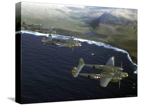 Excellent of a Squadron of American P-38 Fighters in Flight over an Aleutian Island-Dmitri Kessel-Stretched Canvas Print