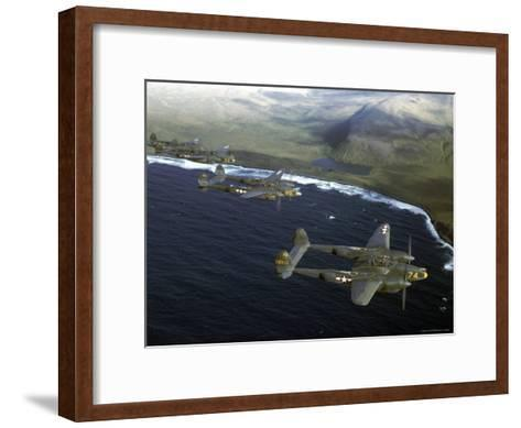 Excellent of a Squadron of American P-38 Fighters in Flight over an Aleutian Island-Dmitri Kessel-Framed Art Print