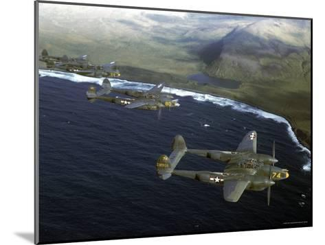 Excellent of a Squadron of American P-38 Fighters in Flight over an Aleutian Island-Dmitri Kessel-Mounted Photographic Print