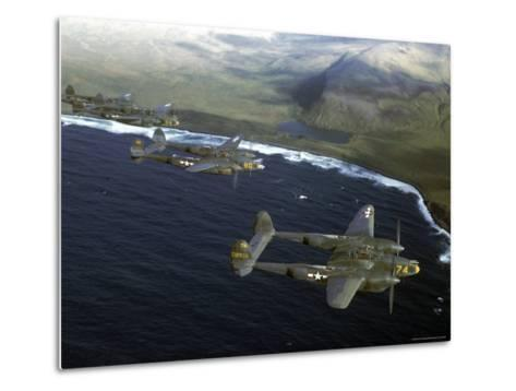 Excellent of a Squadron of American P-38 Fighters in Flight over an Aleutian Island-Dmitri Kessel-Metal Print