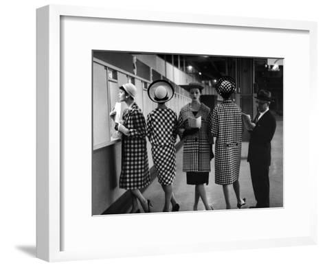 5 Models Wearing Fashionable Dress Suits at a Race Track Betting Window, at Roosevelt Raceway-Nina Leen-Framed Art Print