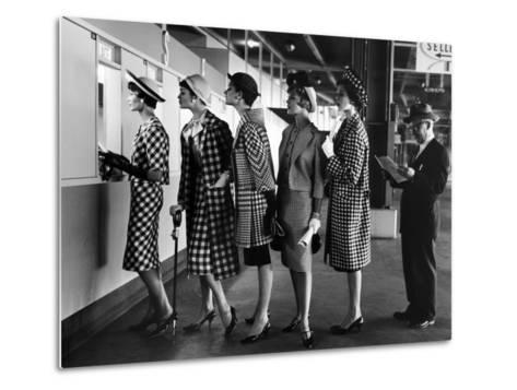 5 Models Wearing Fashionable Dress Suits at a Race Track Betting Window, at Roosevelt Raceway-Nina Leen-Metal Print