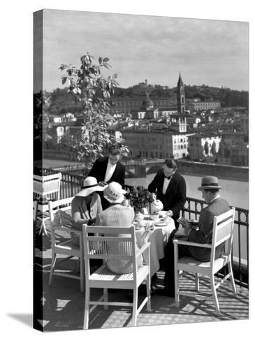 Dining Outside at Restaurant on Roof of Excelsior Hotel-Alfred Eisenstaedt-Stretched Canvas Print