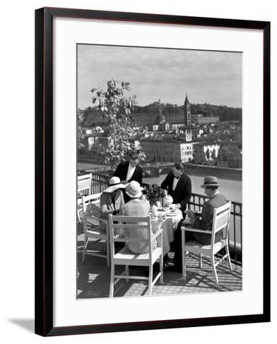 Dining Outside at Restaurant on Roof of Excelsior Hotel-Alfred Eisenstaedt-Framed Art Print