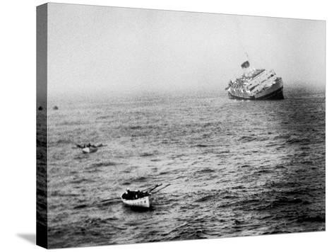 Italian Liner Andrea Doria Sinking in Atlantic After Collision with Swedish Ship Stockholm-Loomis Dean-Stretched Canvas Print