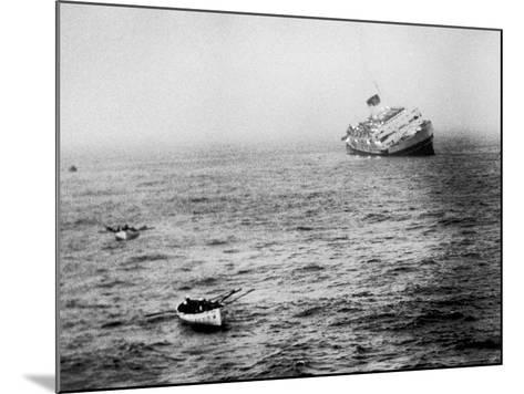 Italian Liner Andrea Doria Sinking in Atlantic After Collision with Swedish Ship Stockholm-Loomis Dean-Mounted Photographic Print