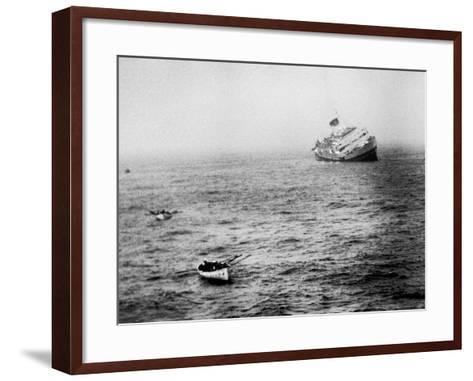 Italian Liner Andrea Doria Sinking in Atlantic After Collision with Swedish Ship Stockholm-Loomis Dean-Framed Art Print